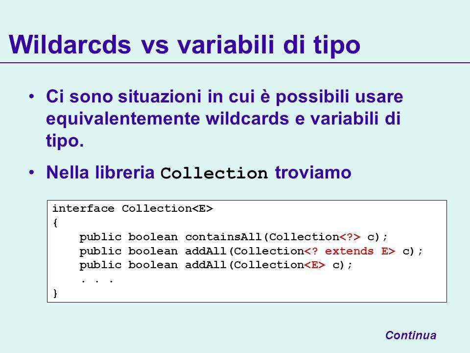 Wildarcds vs variabili di tipo Ci sono situazioni in cui è possibili usare equivalentemente wildcards e variabili di tipo.