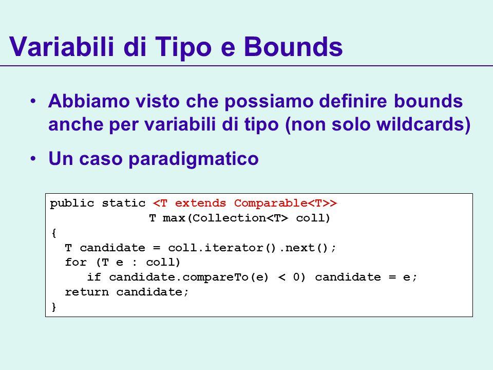 Variabili di Tipo e Bounds Abbiamo visto che possiamo definire bounds anche per variabili di tipo (non solo wildcards) Un caso paradigmatico public static > T max(Collection coll) { T candidate = coll.iterator().next(); for (T e : coll) if candidate.compareTo(e) < 0) candidate = e; return candidate; }