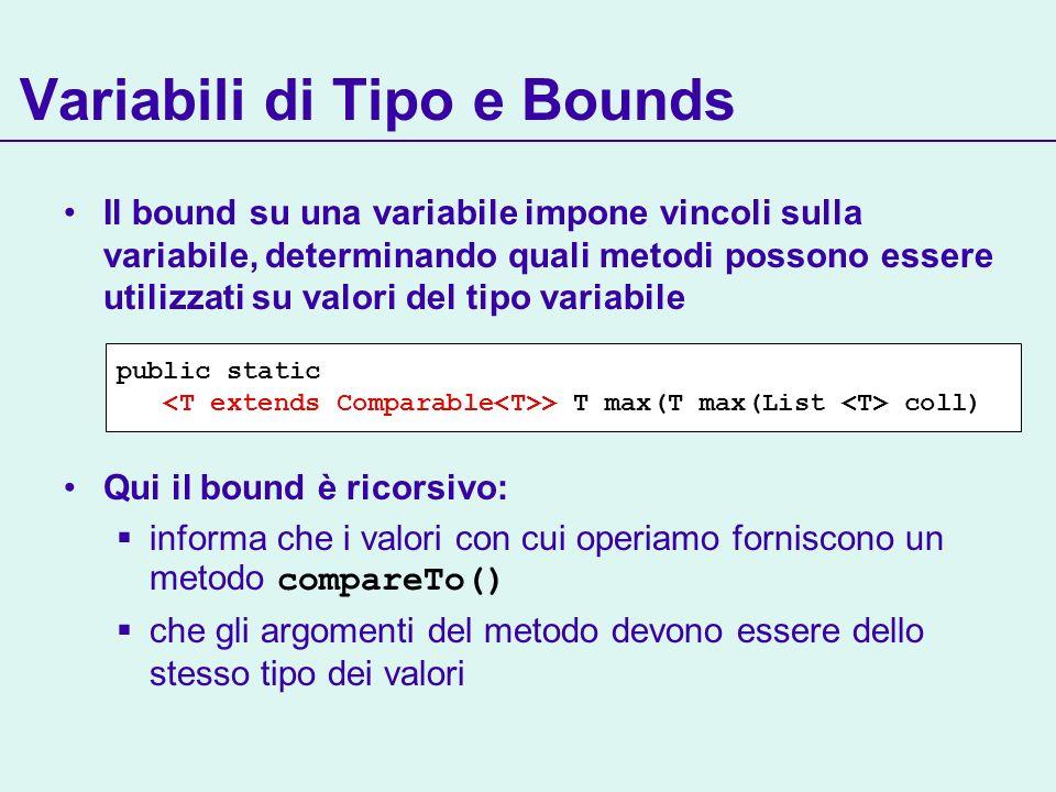 Variabili di Tipo e Bounds Il bound su una variabile impone vincoli sulla variabile, determinando quali metodi possono essere utilizzati su valori del tipo variabile Qui il bound è ricorsivo: informa che i valori con cui operiamo forniscono un metodo compareTo() che gli argomenti del metodo devono essere dello stesso tipo dei valori public static > T max(T max(List coll)