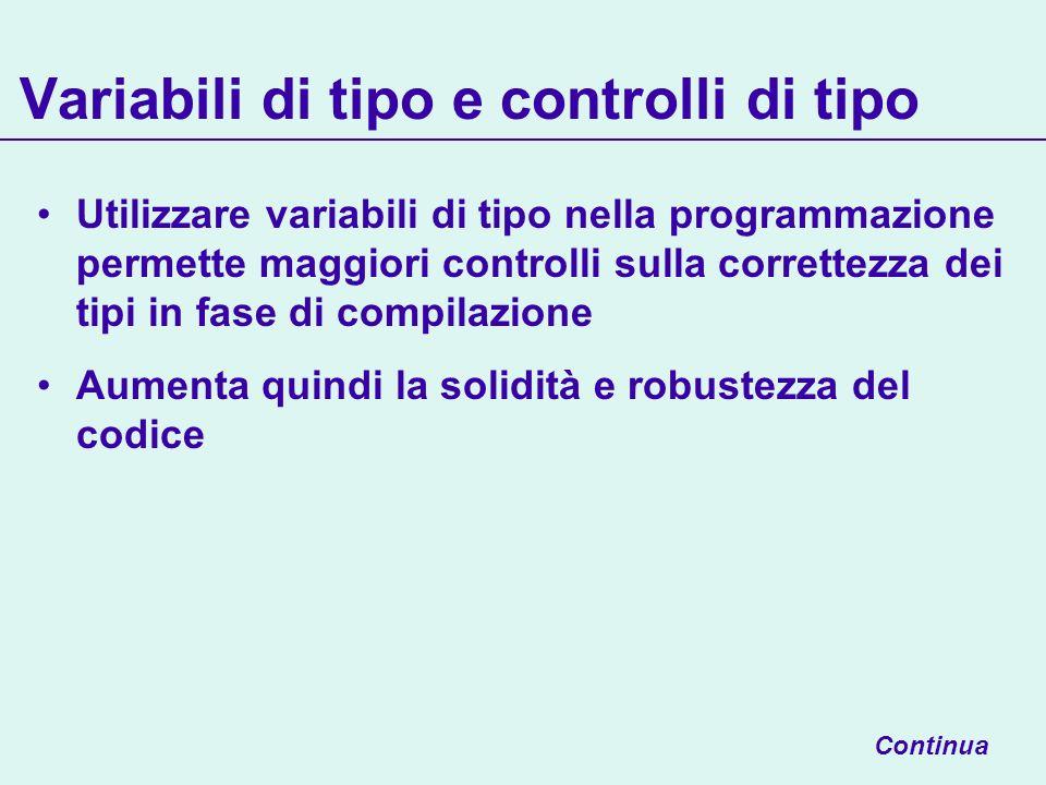 Variabili di tipo e controlli di tipo Utilizzare variabili di tipo nella programmazione permette maggiori controlli sulla correttezza dei tipi in fase di compilazione Aumenta quindi la solidità e robustezza del codice Continua