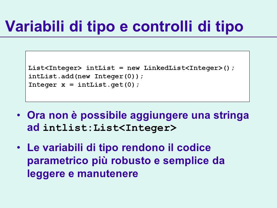 Variabili di tipo e controlli di tipo Ora non è possibile aggiungere una stringa ad intlist:List Le variabili di tipo rendono il codice parametrico più robusto e semplice da leggere e manutenere List intList = new LinkedList (); intList.add(new Integer(0)); Integer x = intList.get(0);