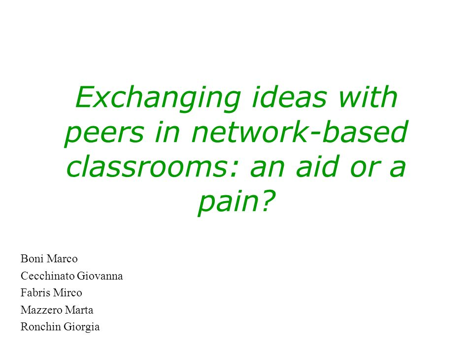 Exchanging ideas with peers in network-based classrooms: an aid or a pain.