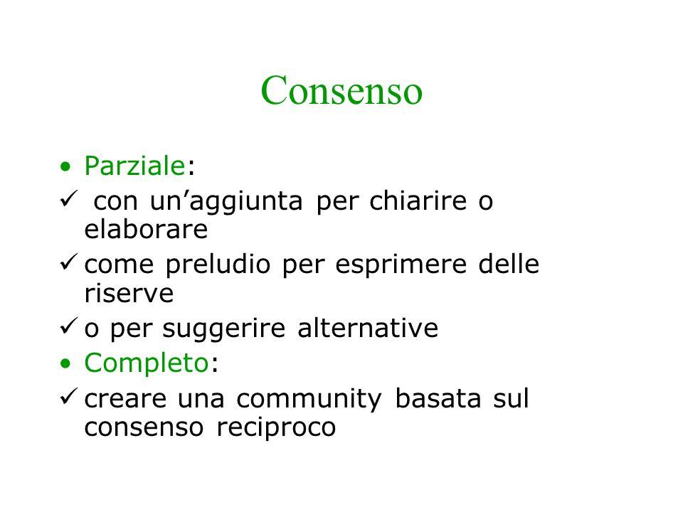 Mosse comunicative Consenso – (agreeing): verso il messaggio ricevuto Sono daccordo con te… Complimento – (praising): con funzione introduttiva La tua osservazione è molto interessante…
