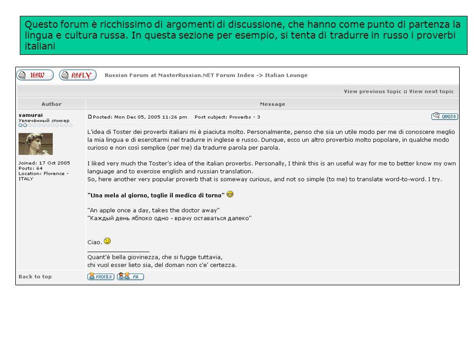 Masterrussian.net forum sulla lingua/cultura russa -un esempio di come usare il web per apprendere lingue e culture straniere-