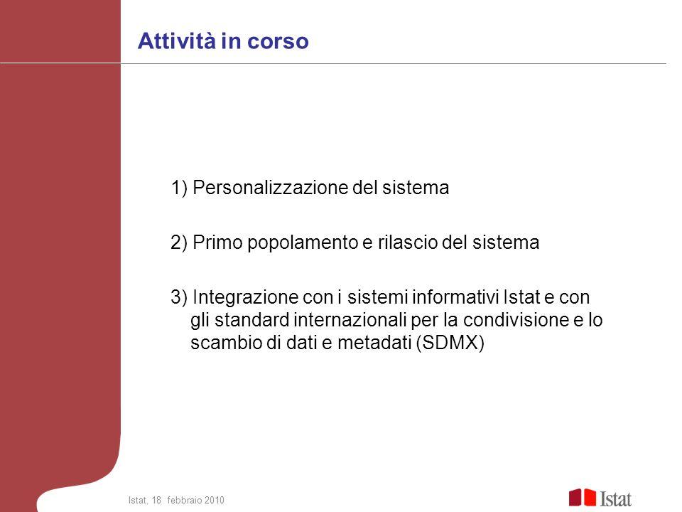 Attività in corso 1) Personalizzazione del sistema 2) Primo popolamento e rilascio del sistema 3) Integrazione con i sistemi informativi Istat e con g