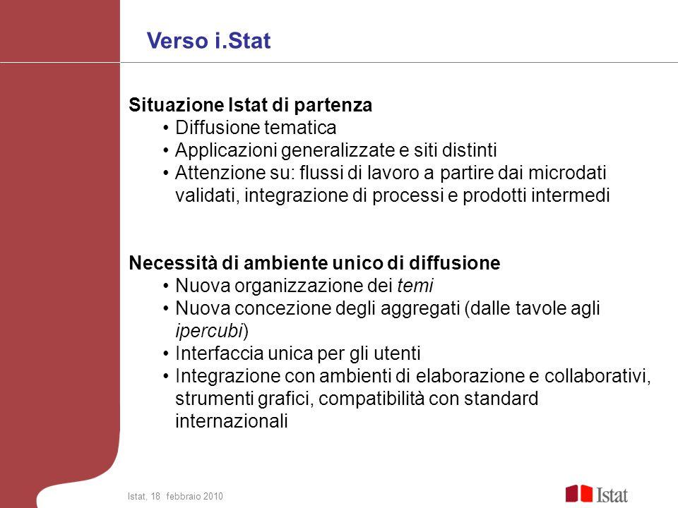Verso i.Stat Situazione Istat di partenza Diffusione tematica Applicazioni generalizzate e siti distinti Attenzione su: flussi di lavoro a partire dai