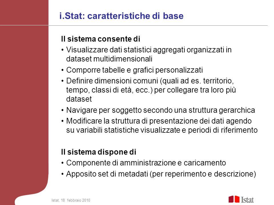 i.Stat: caratteristiche di base Il sistema consente di Visualizzare dati statistici aggregati organizzati in dataset multidimensionali Comporre tabell