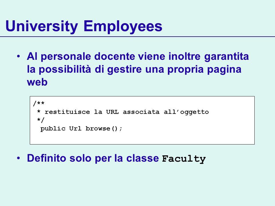 University Employees Al personale docente viene inoltre garantita la possibilità di gestire una propria pagina web Definito solo per la classe Faculty /** * restituisce la URL associata alloggetto */ public Url browse();