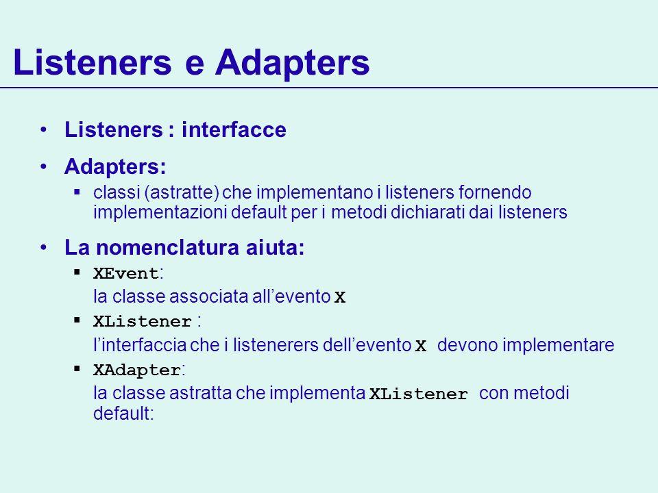 Listeners e Adapters Listeners : interfacce Adapters: classi (astratte) che implementano i listeners fornendo implementazioni default per i metodi dic