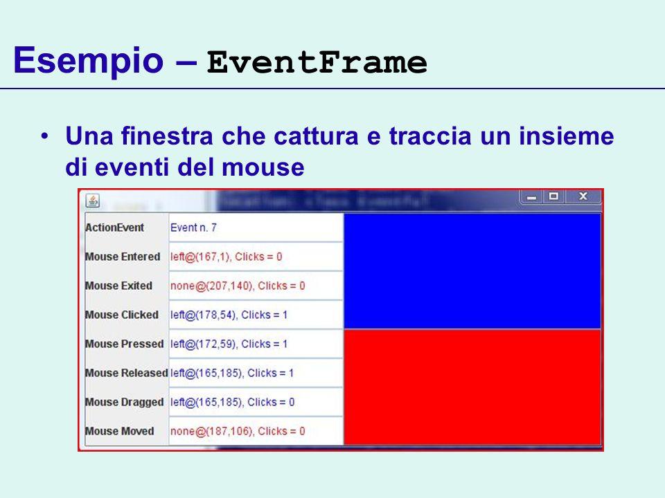 Esempio – EventFrame Una finestra che cattura e traccia un insieme di eventi del mouse