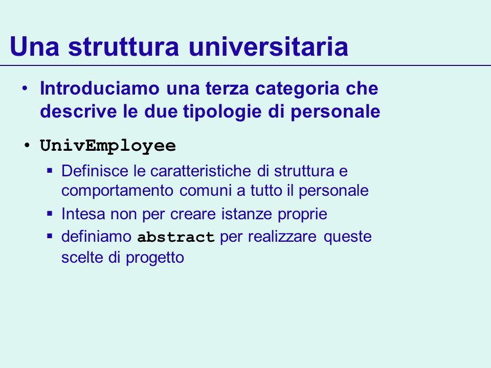 Una struttura universitaria Introduciamo una terza categoria che descrive le due tipologie di personale UnivEmployee Definisce le caratteristiche di struttura e comportamento comuni a tutto il personale Intesa non per creare istanze proprie definiamo abstract per realizzare queste scelte di progetto