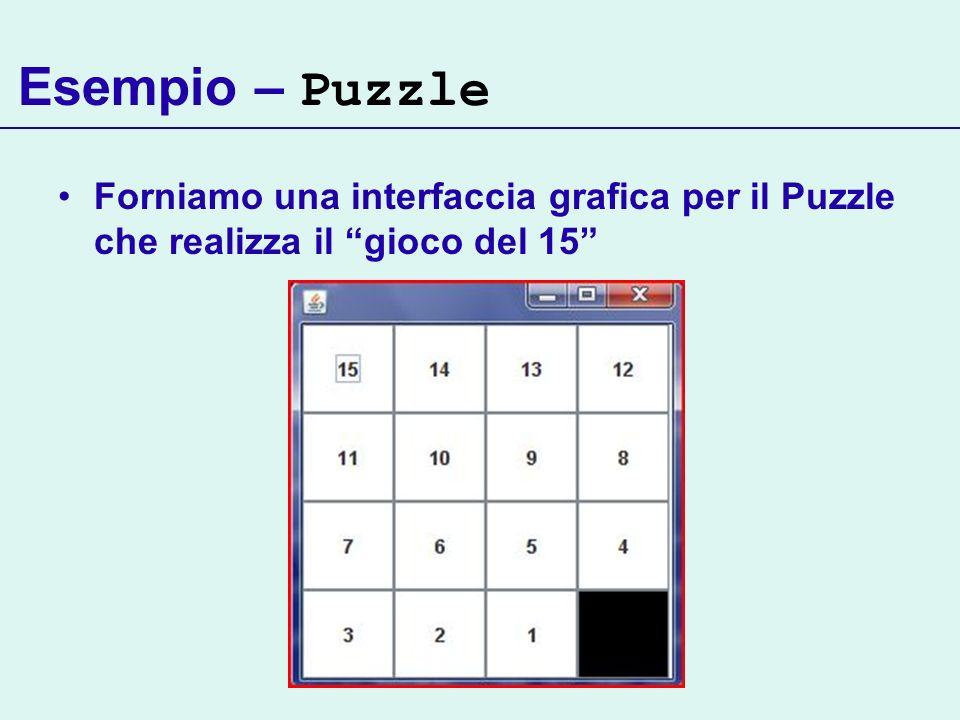 Esempio – Puzzle Forniamo una interfaccia grafica per il Puzzle che realizza il gioco del 15