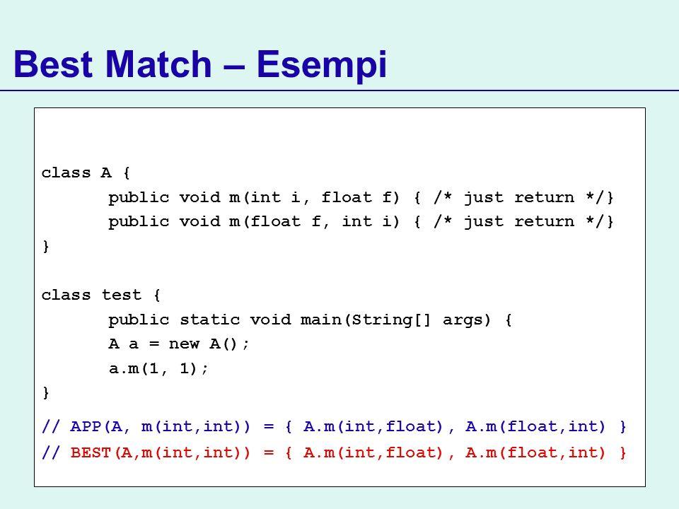 Best Match – Esempi class A { public void m(int i, float f) { /* just return */} public void m(float f, int i) { /* just return */} } class test { pub