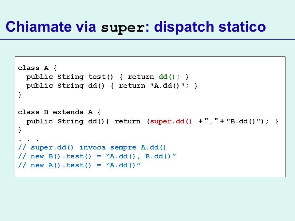 Chiamate via super : dispatch statico class A { public String test() { return dd(); } public String dd() { return