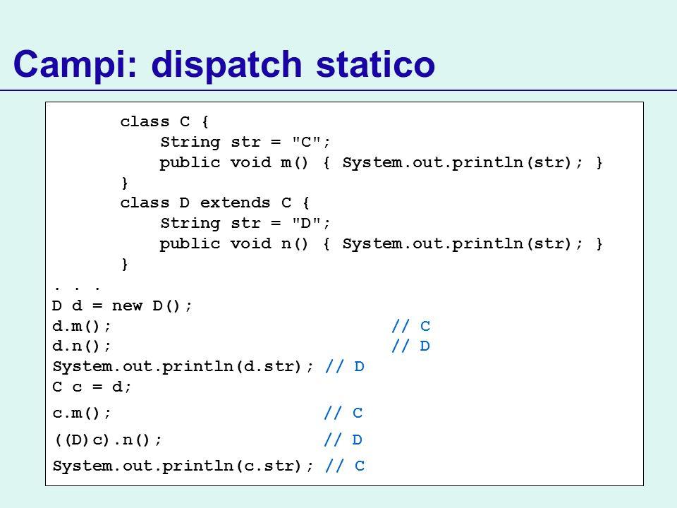 Campi: dispatch statico class C { String str =