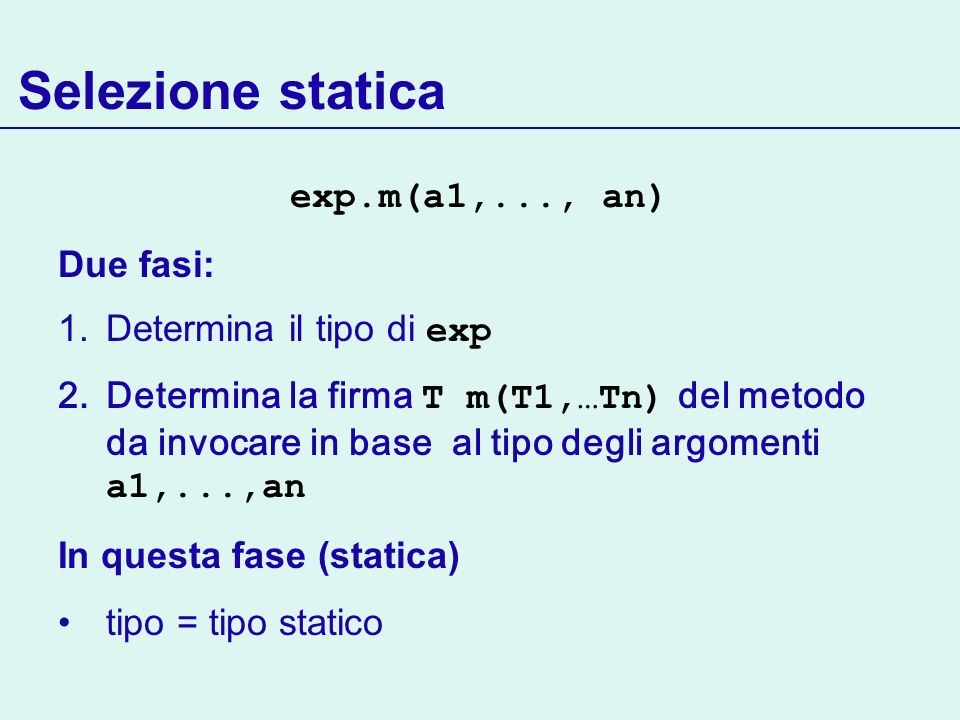 Selezione statica exp.m(a1,..., an) Due fasi: 1.Determina il tipo di exp 2.Determina la firma T m(T1,…Tn) del metodo da invocare in base al tipo degli