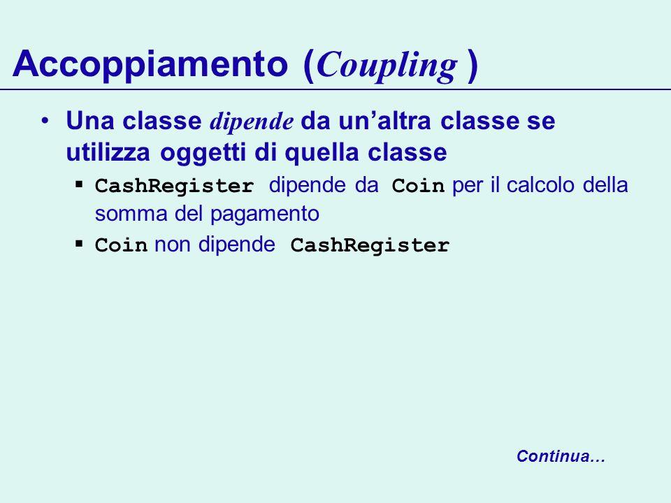 Accoppiamento ( Coupling ) Una classe dipende da unaltra classe se utilizza oggetti di quella classe CashRegister dipende da Coin per il calcolo della somma del pagamento Coin non dipende CashRegister Continua…