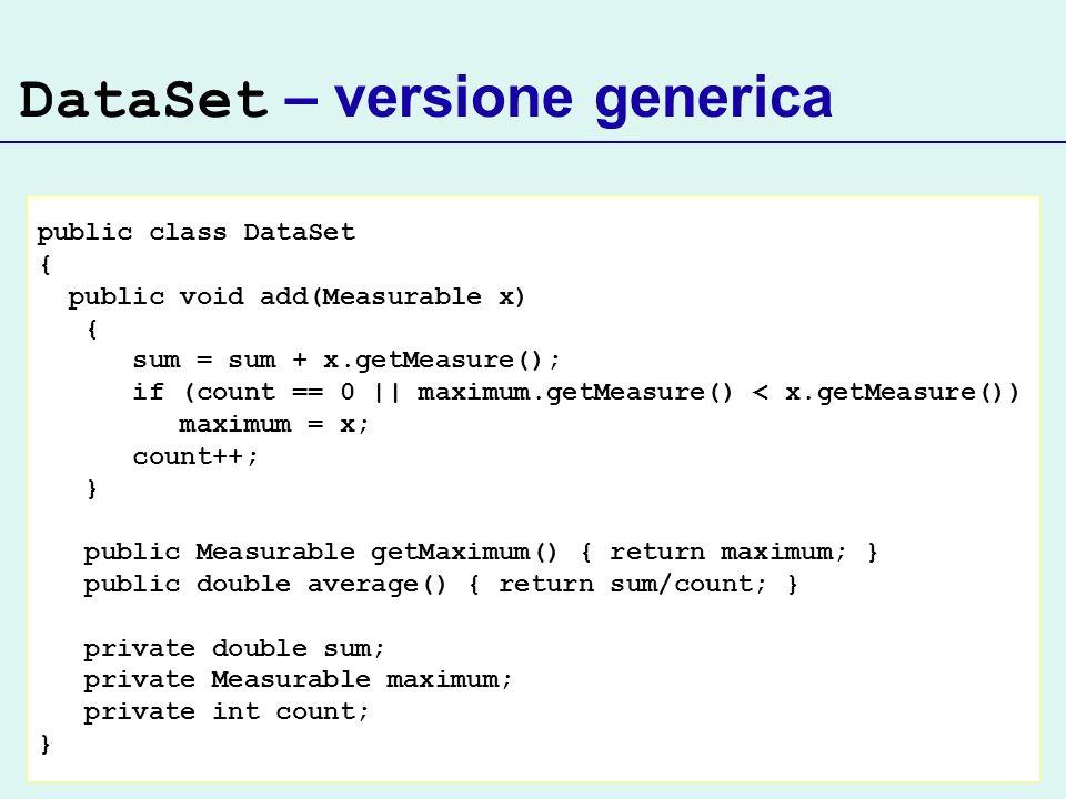 DataSet – versione generica public class DataSet { public void add(Measurable x) { sum = sum + x.getMeasure(); if (count == 0 || maximum.getMeasure() < x.getMeasure()) maximum = x; count++; } public Measurable getMaximum() { return maximum; } public double average() { return sum/count; } private double sum; private Measurable maximum; private int count; }
