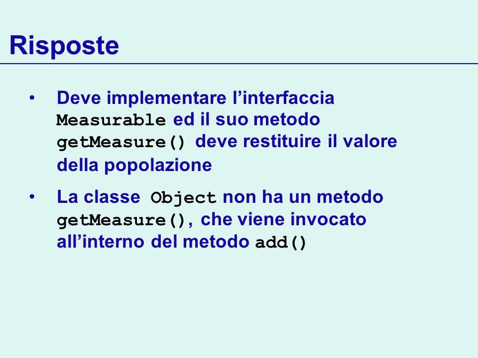 Risposte Deve implementare linterfaccia Measurable ed il suo metodo getMeasure() deve restituire il valore della popolazione La classe Object non ha un metodo getMeasure(), che viene invocato allinterno del metodo add()