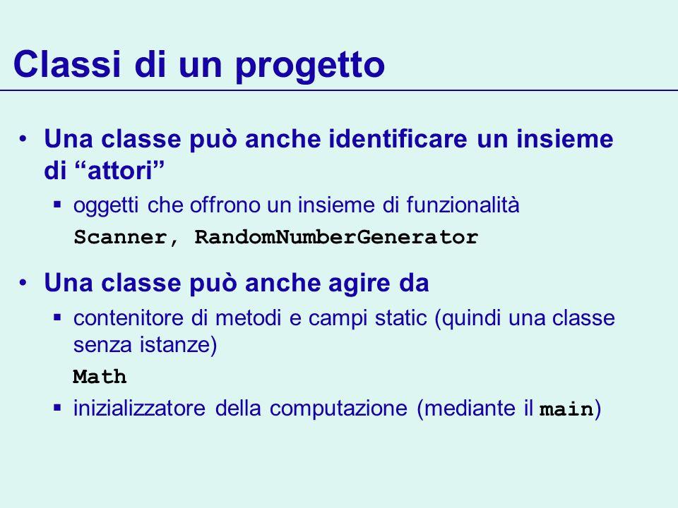 Classi di un progetto Una classe può anche identificare un insieme di attori oggetti che offrono un insieme di funzionalità Scanner, RandomNumberGenerator Una classe può anche agire da contenitore di metodi e campi static (quindi una classe senza istanze) Math inizializzatore della computazione (mediante il main )