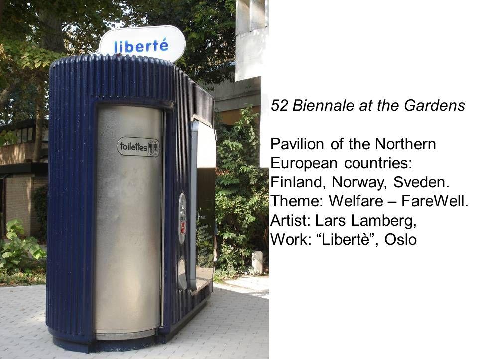 52 Biennale at the Gardens Pavilion of the Northern European countries: Finland, Norway, Sveden. Theme: Welfare – FareWell. Artist: Lars Lamberg, Work