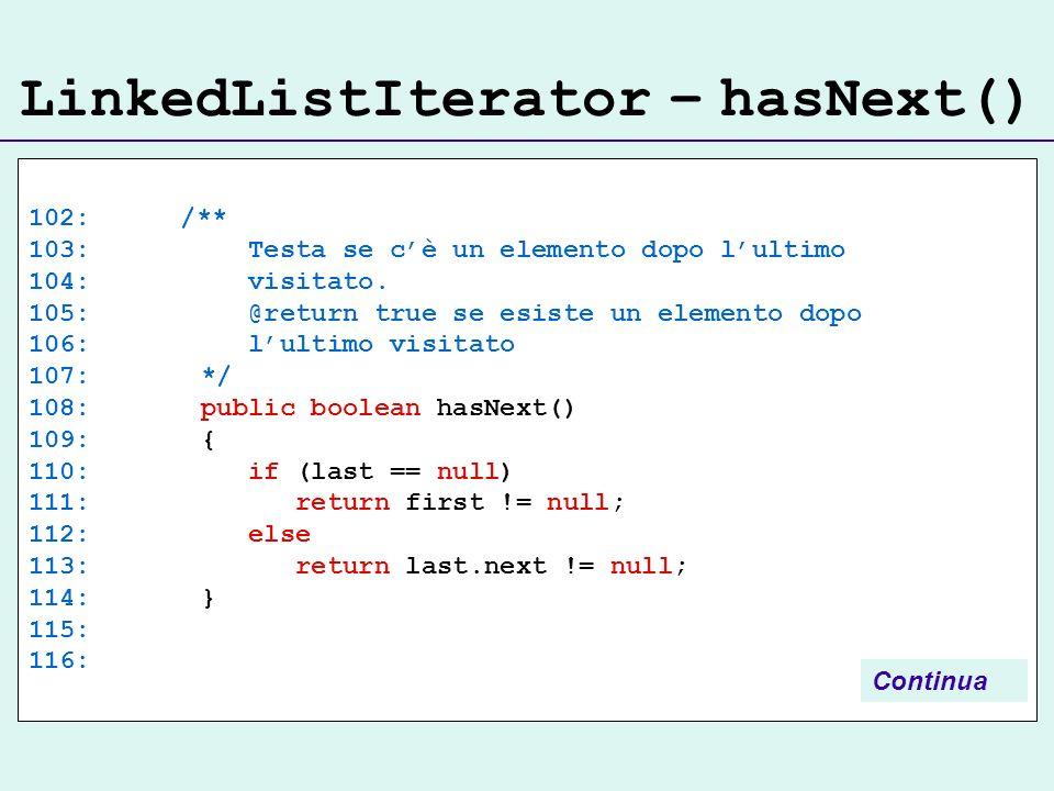 LinkedListIterator – hasNext() 102: /** 103: Testa se cè un elemento dopo lultimo 104: visitato.