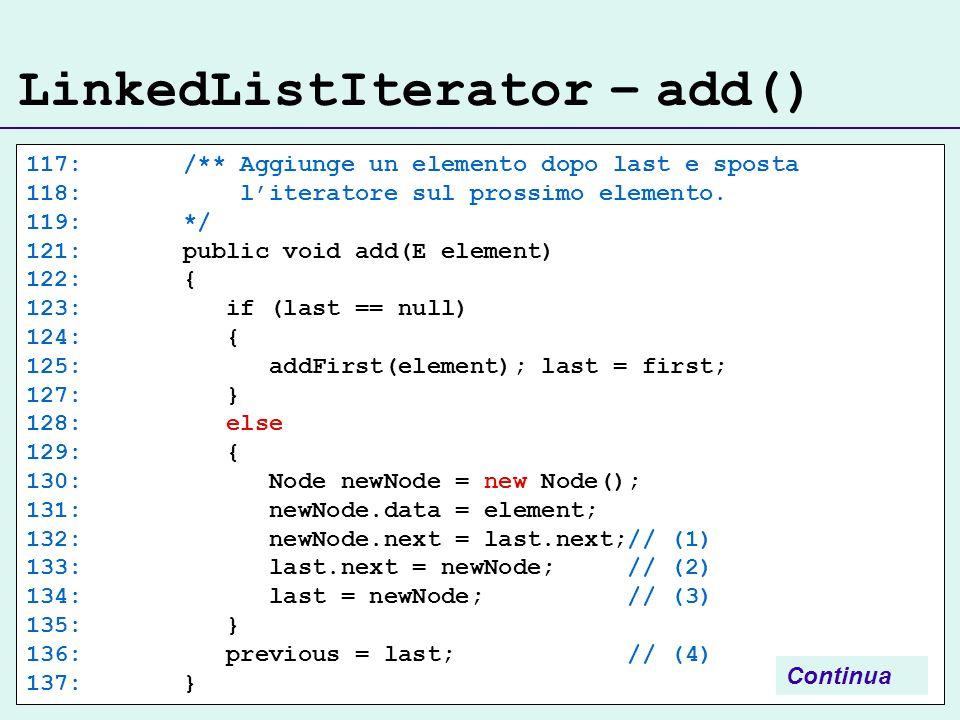LinkedListIterator – add() 117: /** Aggiunge un elemento dopo last e sposta 118: literatore sul prossimo elemento. 119: */ 121: public void add(E elem
