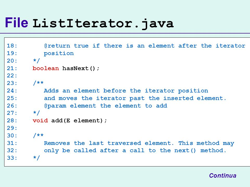 File ListIterator.java 18: @return true if there is an element after the iterator 19: position 20: */ 21: boolean hasNext(); 22: 23: /** 24: Adds an element before the iterator position 25: and moves the iterator past the inserted element.