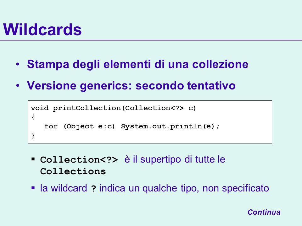 Wildcards Stampa degli elementi di una collezione Versione generics: secondo tentativo Collection è il supertipo di tutte le Collections la wildcard ?