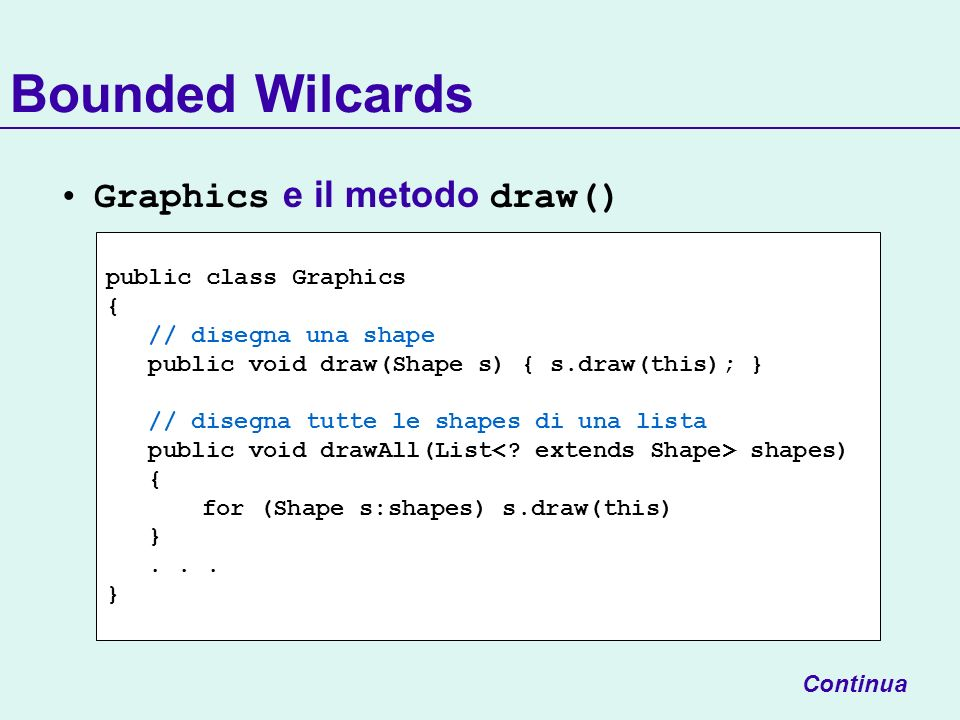 Bounded Wilcards Graphics e il metodo draw() public class Graphics { // disegna una shape public void draw(Shape s) { s.draw(this); } // disegna tutte le shapes di una lista public void drawAll(List shapes) { for (Shape s:shapes) s.draw(this) }...