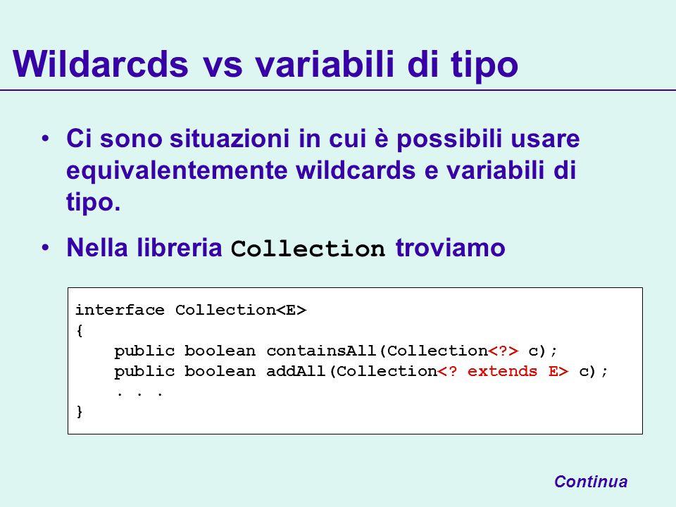 Wildarcds vs variabili di tipo Ci sono situazioni in cui è possibili usare equivalentemente wildcards e variabili di tipo. Nella libreria Collection t