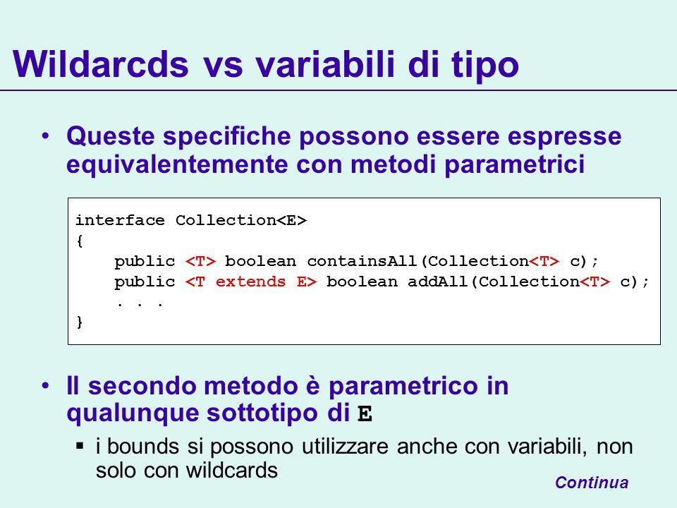 Wildarcds vs variabili di tipo Queste specifiche possono essere espresse equivalentemente con metodi parametrici Il secondo metodo è parametrico in qu