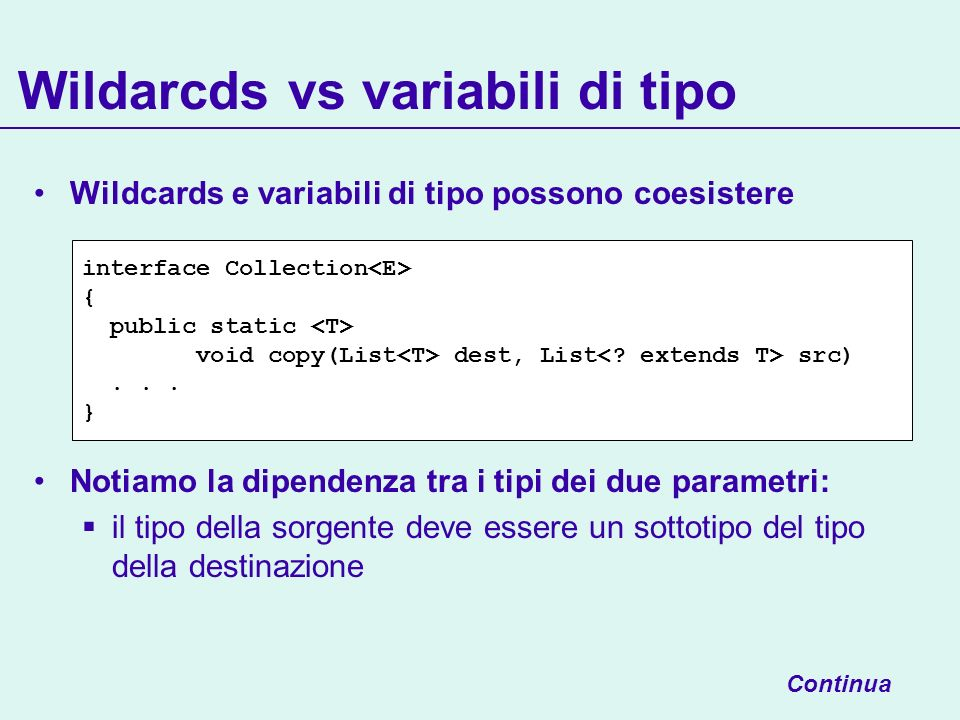 Wildcards e variabili di tipo possono coesistere Notiamo la dipendenza tra i tipi dei due parametri: il tipo della sorgente deve essere un sottotipo del tipo della destinazione Wildarcds vs variabili di tipo Continua interface Collection { public static void copy(List dest, List src)...