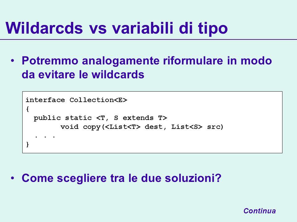 Potremmo analogamente riformulare in modo da evitare le wildcards Come scegliere tra le due soluzioni? Wildarcds vs variabili di tipo Continua interfa