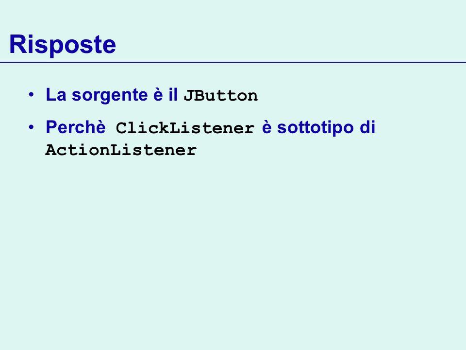 Risposte La sorgente è il JButton Perchè ClickListener è sottotipo di ActionListener