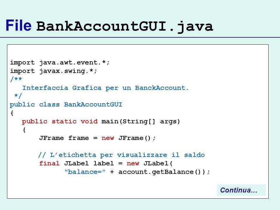 File BankAccountGUI.java import java.awt.event.*; import javax.swing.*; /** Interfaccia Grafica per un BanckAccount. */ public class BankAccountGUI {
