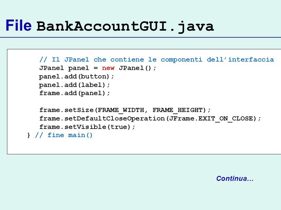 File BankAccountGUI.java // Il JPanel che contiene le componenti dellinterfaccia JPanel panel = new JPanel(); panel.add(button); panel.add(label); fra