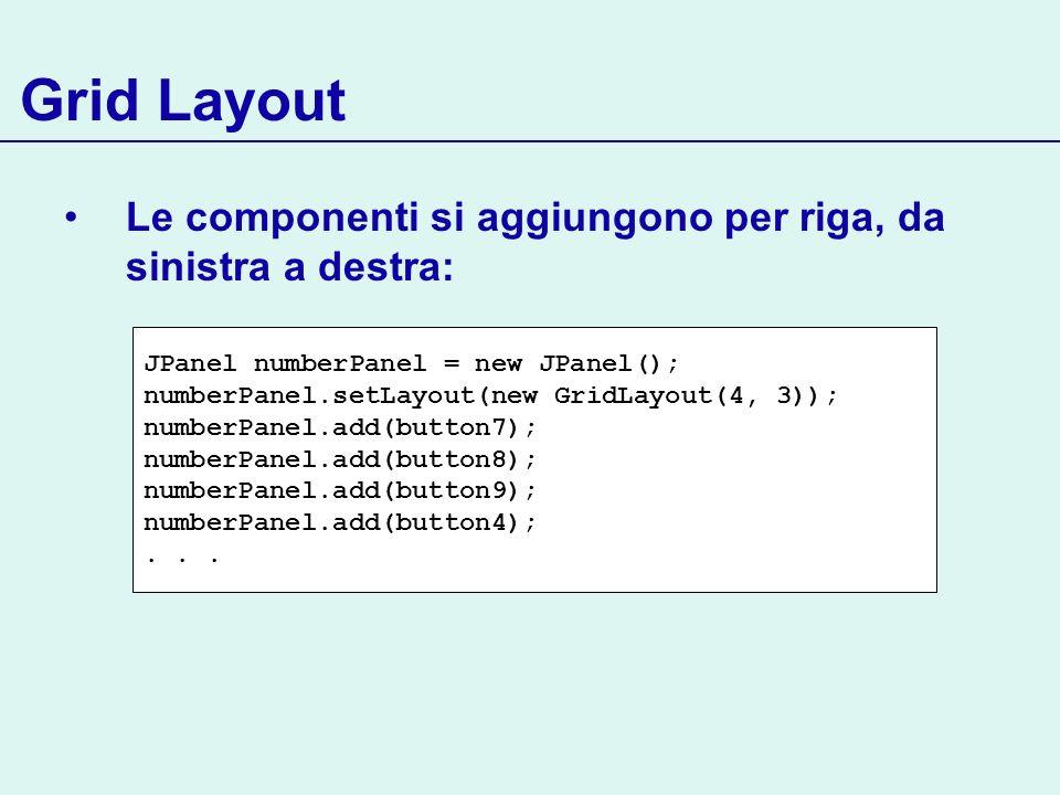 Grid Layout Le componenti si aggiungono per riga, da sinistra a destra: JPanel numberPanel = new JPanel(); numberPanel.setLayout(new GridLayout(4, 3))