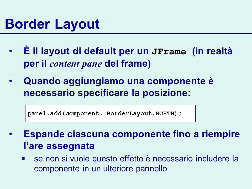 Border Layout È il layout di default per un JFrame (in realtà per il content pane del frame) Quando aggiungiamo una componente è necessario specificar