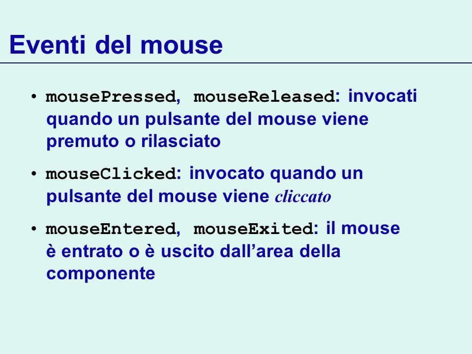 Eventi del mouse mousePressed, mouseReleased : invocati quando un pulsante del mouse viene premuto o rilasciato mouseClicked : invocato quando un puls