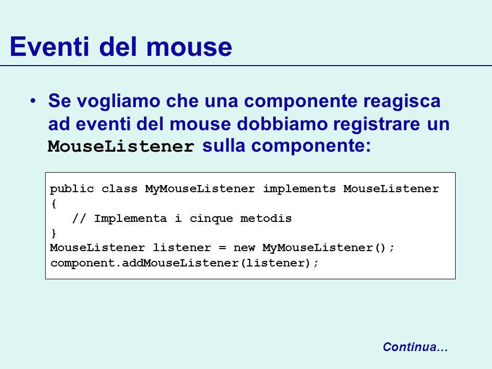 Eventi del mouse Se vogliamo che una componente reagisca ad eventi del mouse dobbiamo registrare un MouseListener sulla componente: Continua… public c
