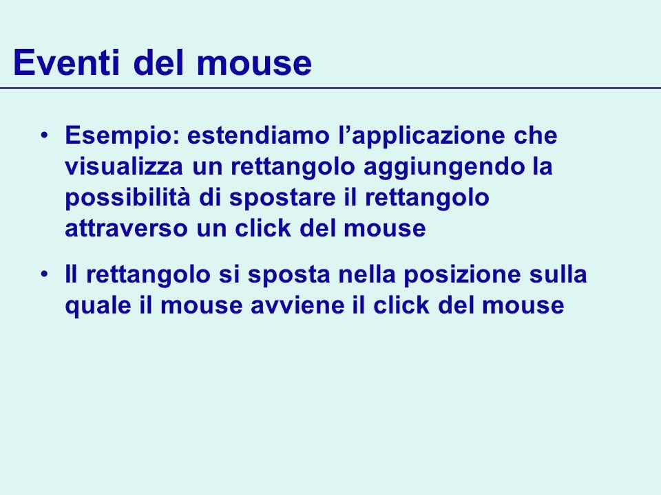 Eventi del mouse Esempio: estendiamo lapplicazione che visualizza un rettangolo aggiungendo la possibilità di spostare il rettangolo attraverso un cli