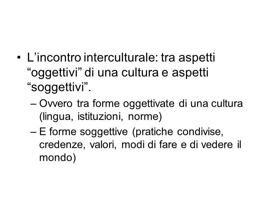 Lincontro interculturale: tra aspetti oggettivi di una cultura e aspetti soggettivi. –Ovvero tra forme oggettivate di una cultura (lingua, istituzioni