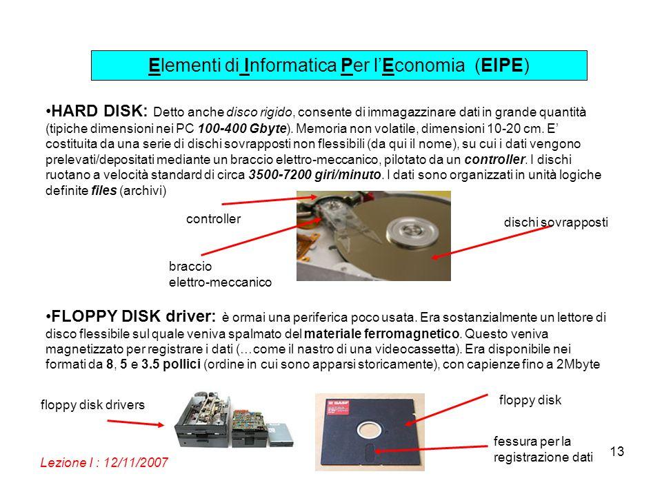 Elementi di Informatica Per lEconomia (EIPE) Lezione I : 12/11/2007 13 HARD DISK: Detto anche disco rigido, consente di immagazzinare dati in grande quantità (tipiche dimensioni nei PC 100-400 Gbyte).