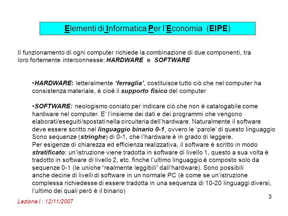 Elementi di Informatica Per lEconomia (EIPE) Lezione I : 12/11/2007 14 TASTIERA: anche la tastiera è vista come una periferica dal PC, connessa al BUS.
