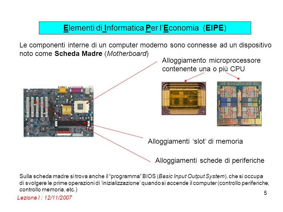 Elementi di Informatica Per lEconomia (EIPE) Lezione I : 12/11/2007 5 Le componenti interne di un computer moderno sono connesse ad un dispositivo not