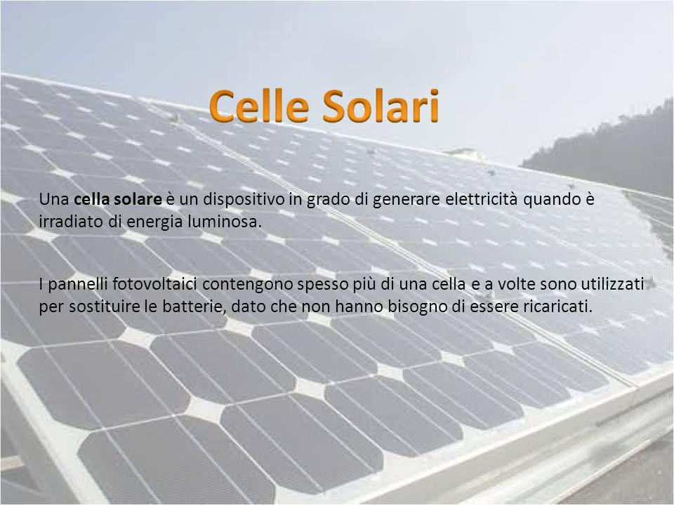 Una cella solare è un dispositivo in grado di generare elettricità quando è irradiato di energia luminosa. I pannelli fotovoltaici contengono spesso p