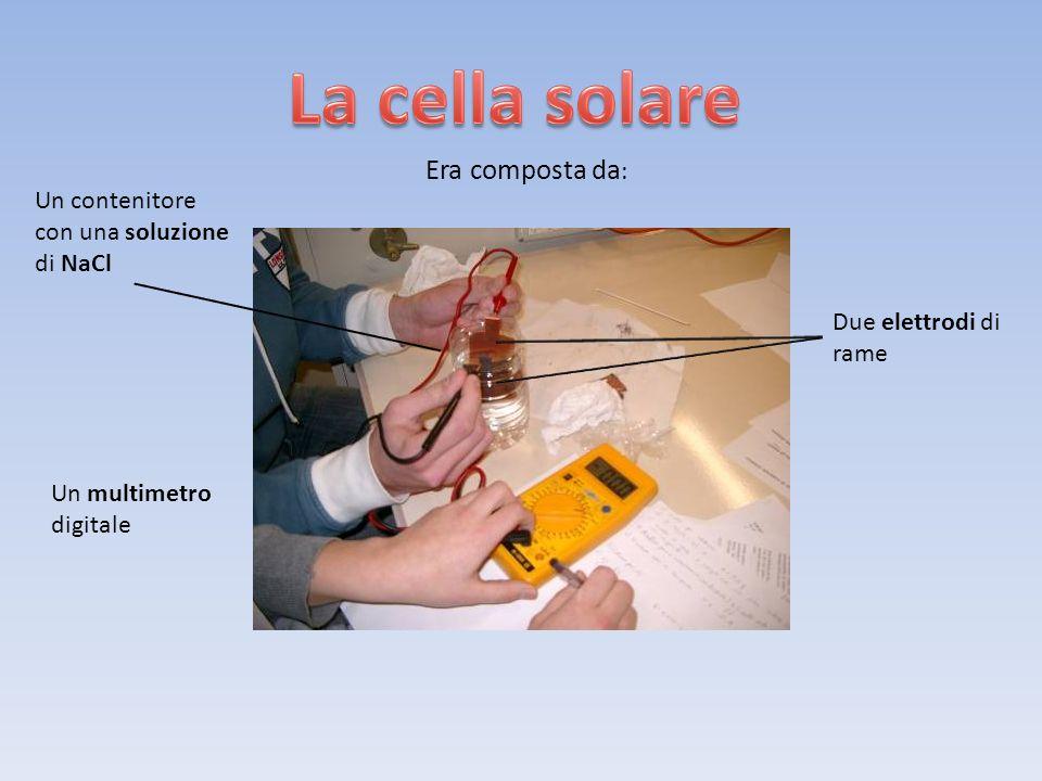 Era composta da : Un contenitore con una soluzione di NaCl Due elettrodi di rame Un multimetro digitale