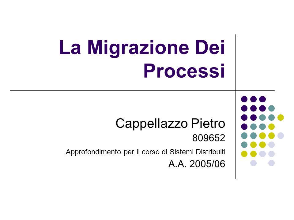 La Migrazione Dei Processi Cappellazzo Pietro 809652 Approfondimento per il corso di Sistemi Distribuiti A.A. 2005/06