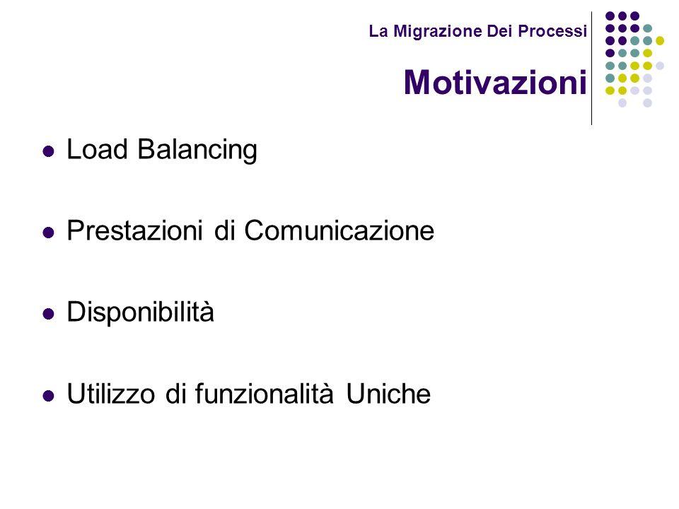 La Migrazione Dei Processi Motivazioni Load Balancing Prestazioni di Comunicazione Disponibilità Utilizzo di funzionalità Uniche